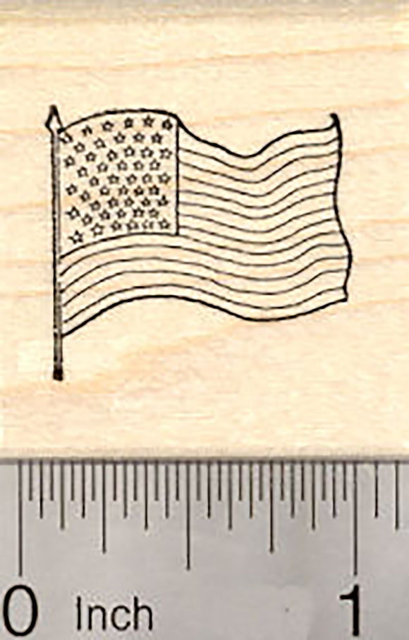 Tiny American Flag Rubber Stamp