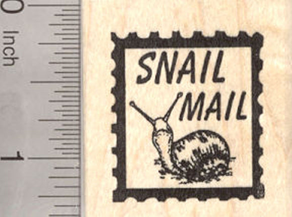 Snail Mail Faux Postage Rubber Stamp