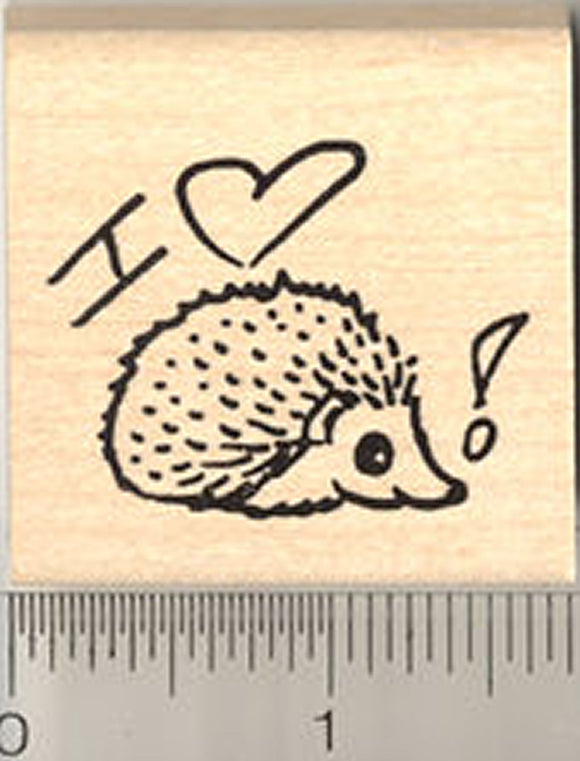 I Heart Hedgehogs Rubber Stamp