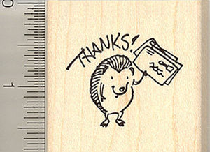 Mail Loving Hedgehog Rubber Stamp