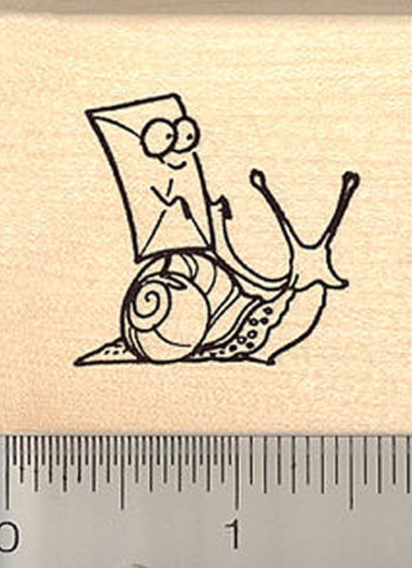 Cartoon Snail Mail Rubber Stamp