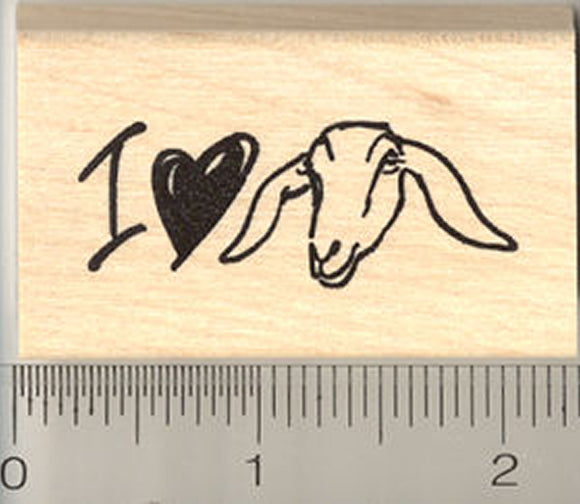 I Love Nubian Goats Rubber Stamp - Wood Mounted