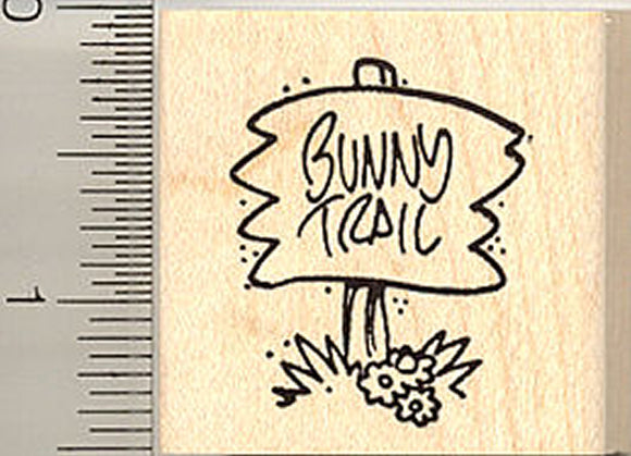 Bunny Trail Sign Rubber Stamp