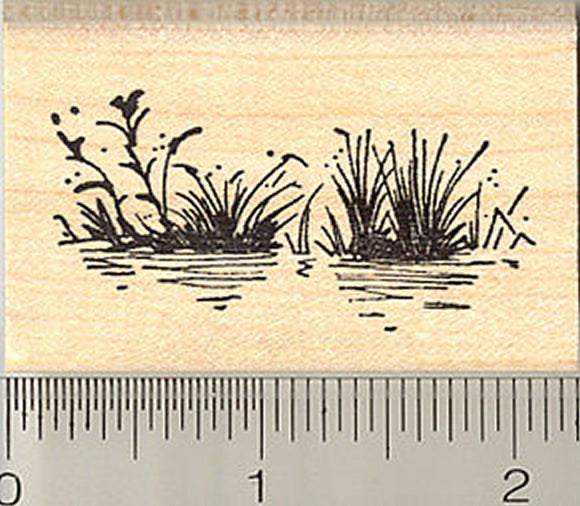 Lake Grass Rubber Stamp