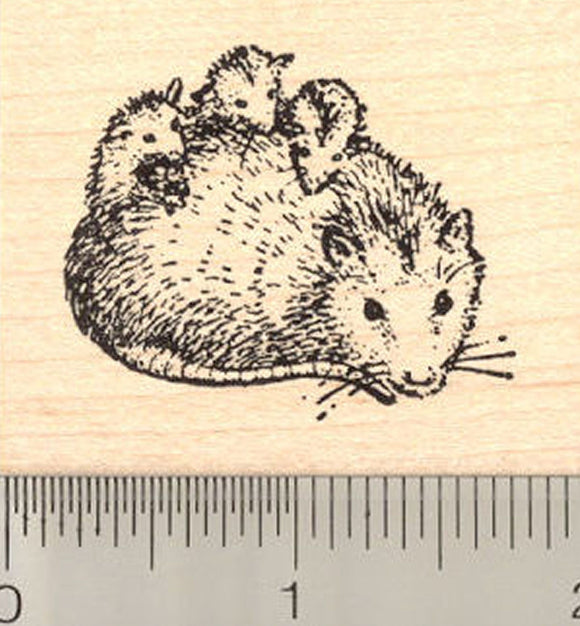 Opossum Rubber Stamp, Mother with Babies on Back