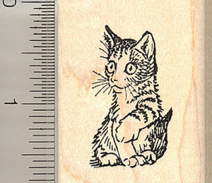 Watchful Kitten Rubber Stamp