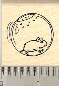 Hamster in Ball Rubber Stamp
