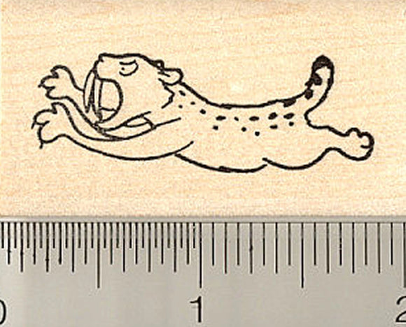 Leaping Saber Toothed Cat Rubber Stamp