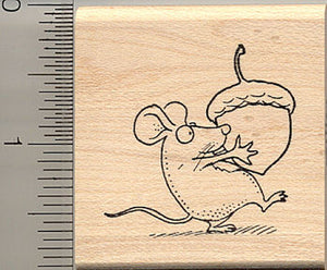Cute Harvest Mouse Rubber Stamp