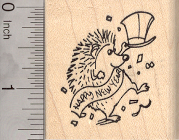 Happy New Year Hedgehog Rubber Stamp