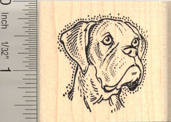 Mastiff Portrait Rubber Stamp