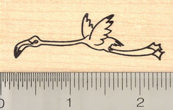 Flying Flamingo Rubber Stamp