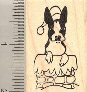 Boston Terrier Santa Rubber Stamp