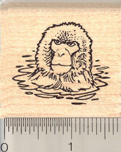 Snow Monkey in Water Rubber Stamp