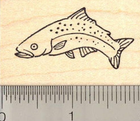 Jumping Trout Rubber Stamp