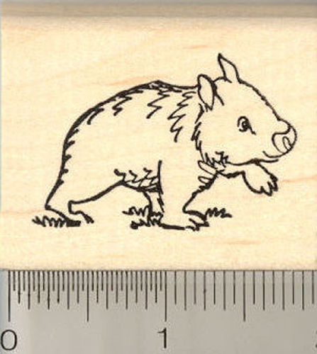 Wombat Rubber Stamp