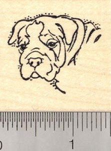 Bulldog Portrait Dog Rubber Stamp