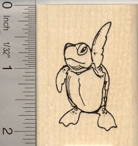 Turtle Mascot Rubber Stamp
