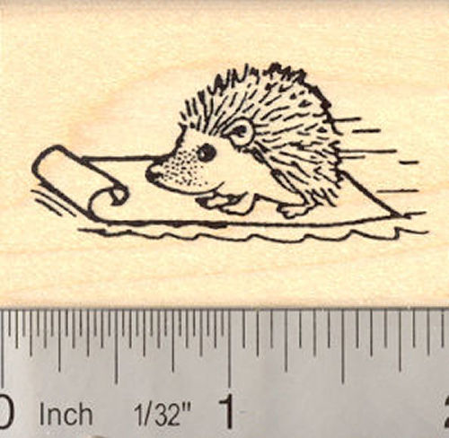 Sledding Hedgehog Rubber Stamp