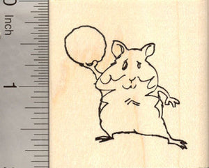Hamster throwing snowball Rubber Stamp