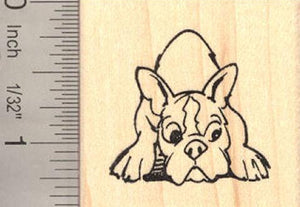 French Bulldog Resting Rubber Stamp