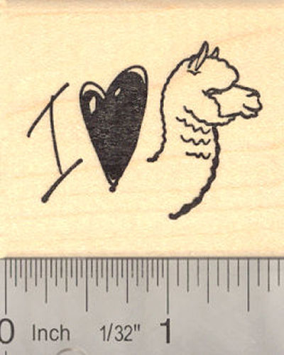 I heart Alpaca Rubber Stamp