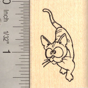 Cute Comic Cat Rubber Stamp