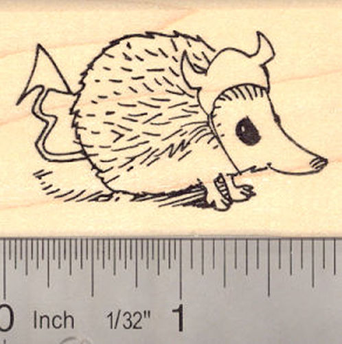 Hedgehog in Devil Halloween Costume Rubber Stamp
