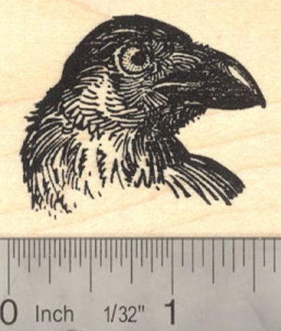 Raven Bird Portrait Rubber Stamp