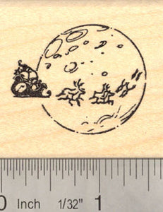Santa sled with reindeer Rubber Stamp