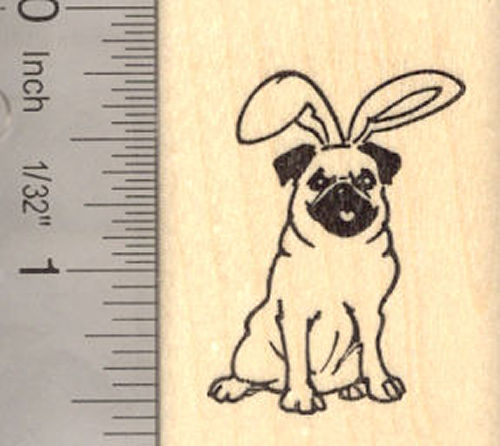 Easter Pug Dog Rubber Stamp
