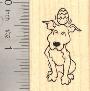 Easter Pitbull Dog Rubber Stamp, With Egg