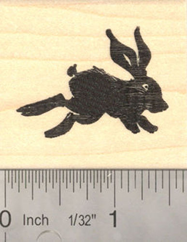 Running Rabbit Silhouette Rubber Stamp, Black Rabbit