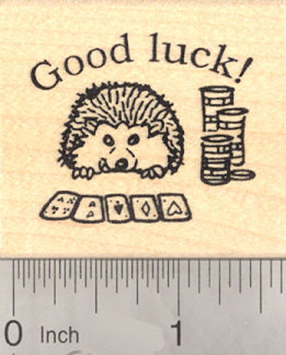 Good Luck Hedgehog Playing Poker Rubber Stamp