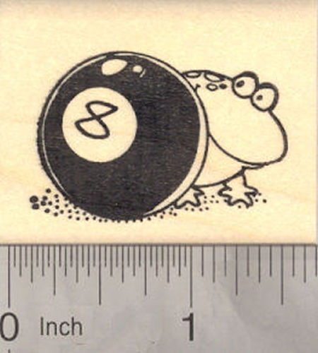 Frog Behind the Eight Ball, Pool Rubber Stamp