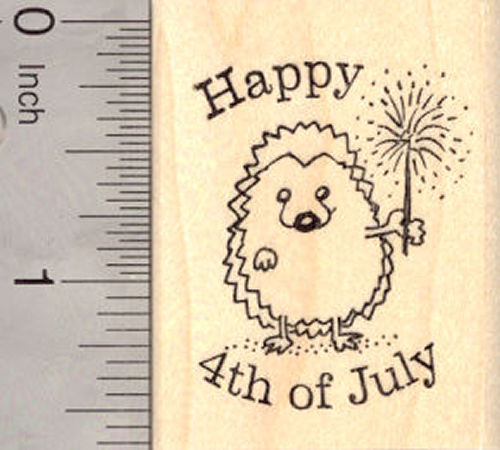 Happy 4th of July Hedgehog Rubber Stamp, with Sparkler (fourth of July, July 4th)