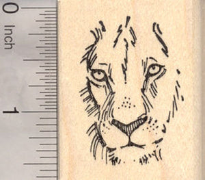 Lion Face Rubber Stamp, Wildlife, Big cat