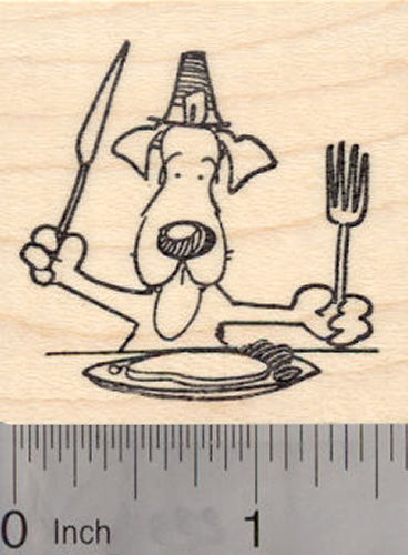 Dog Thanksgiving Rubber Stamp, with knife and fork