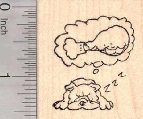 Bulldog Dreaming of Thanksgiving Turkey Leg Rubber Stamp, Dog