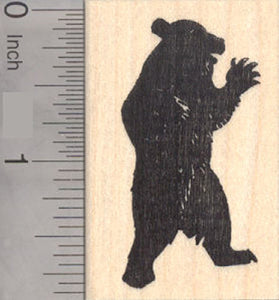 Upright Bear Silhouette Rubber Stamp, Black bear, Grizzly