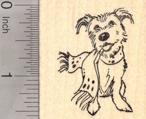 Christmas Terrier Dog in Scarf Rubber Stamp, Winter or Hanukkah Cairn
