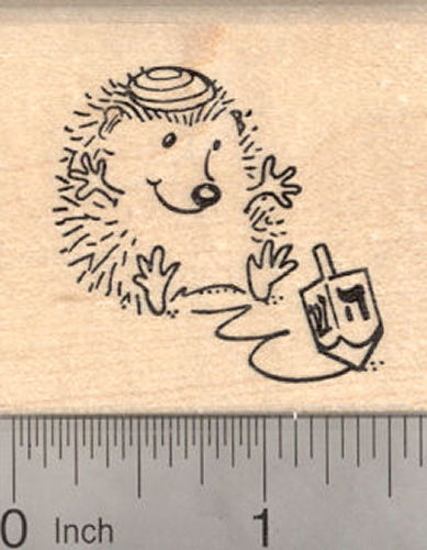 Hanukkah Hedgehog with Dreidel Rubber Stamp, Chanukah Festival of Lights