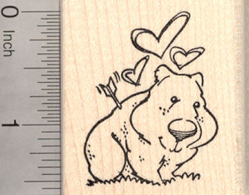 Valentine's Day Wombat Rubber Stamp, Cupid's Arrow