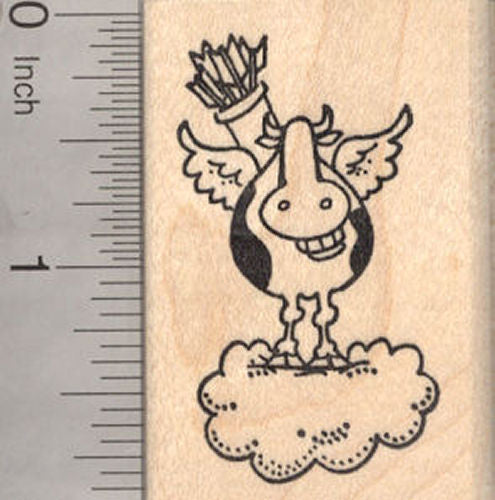 Valentine's Day Grinning Cow Rubber Stamp, Cowpid Cupid