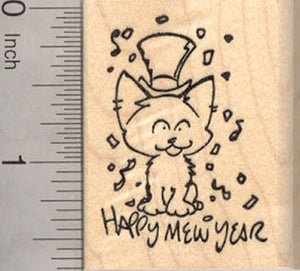 Happy Mew Year, New Year's Eve Cat Rubber Stamp