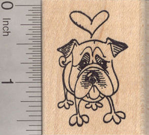 Valentine's Day bulldog Dog Rubber Stamp