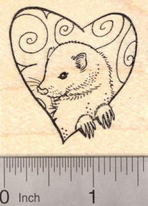 Valentine's Day Ferret Rubber Stamp, with Heart