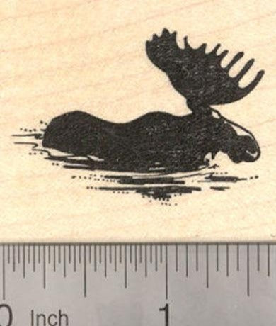 Bull Moose wading through water Rubber Stamp, Silhouette