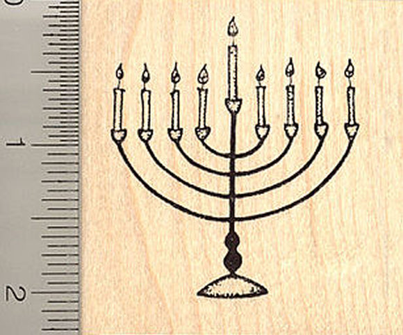 Menorah Hanukkah Rubber Stamp, Judaism