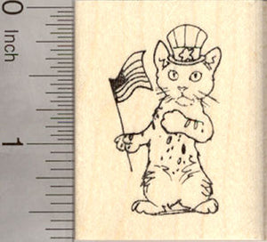 4th of July Cat rubber Stamp, American Flag